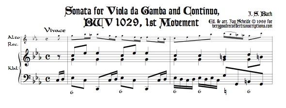 Sonata No. 3 for Viola da Gamba and Continuo, BWV 1029, transposed to c