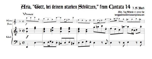 """Aria, """"Gott, bei deinem starken Schützen,"""" from Cantata 14"""