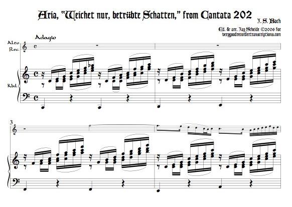 """Aria, """"Weichet nur, betrübte Schatten,"""" from Cantata 202"""