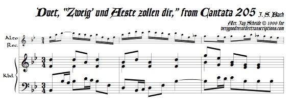 """Duet, """"Zweig' und Aeste zollen dir,"""" from Cantata 205"""