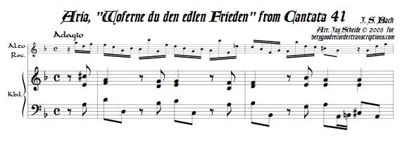 """Aria, """"Woferne du den edlen Frieden,"""" from Cantata 41"""