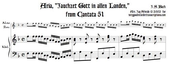 """Aria, """"Jauchzet Gott in allen Landen,"""" from Cantata 51"""