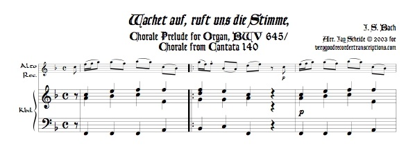"""Chorale Prélude, """"Wachet auf, ruft uns die Stimme,"""" BWV 645"""