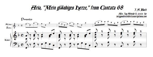 "Aria, ""Mein gläubiges Herze,"" from Cantata 68"