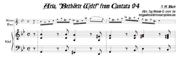 """Aria, """"Bethörte Welt!,"""" from Cantata 94"""
