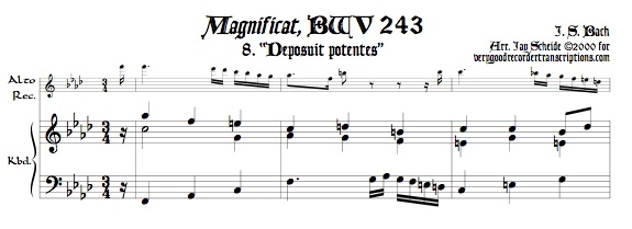 """Aria, \""""Deposuit potentes\"""" from *Magnificat*, BWV 243, transposed to f"""