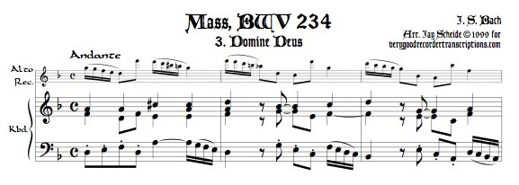 "Aria, ""Domine Deus"" from Missa Brevis, BWV 234 for alto recorder doubling soprano or tenor"