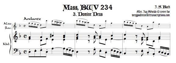 """Aria, """"Domine Deus"""" from Missa Brevis, BWV 234 for alto recorder doubling soprano or tenor"""
