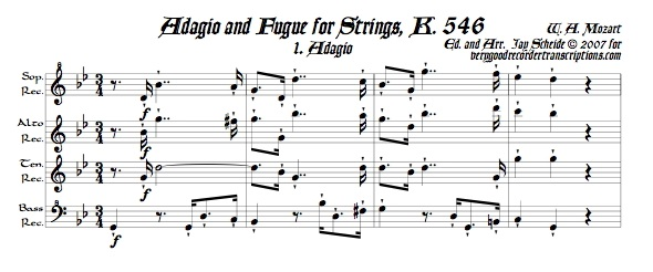 Adagio and Fugue, K. 546, arr. for recorder quartet