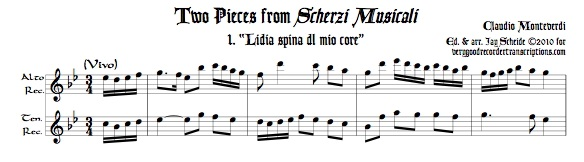 Two duets from *Scherzi Musicali* for alto & tenor recorders