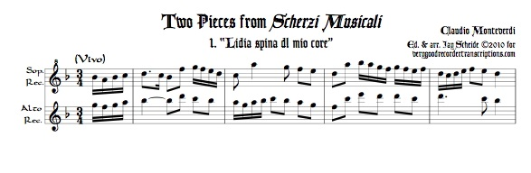 Two duets from *Scherzi Musicali* for soprano & alto recorders