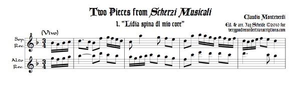 Two duets from *Scherzi Musicali* for soprano & alto recorders