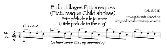 """""""Petit prélude à la journée"""", from *Enfantillages pittoresques*"""