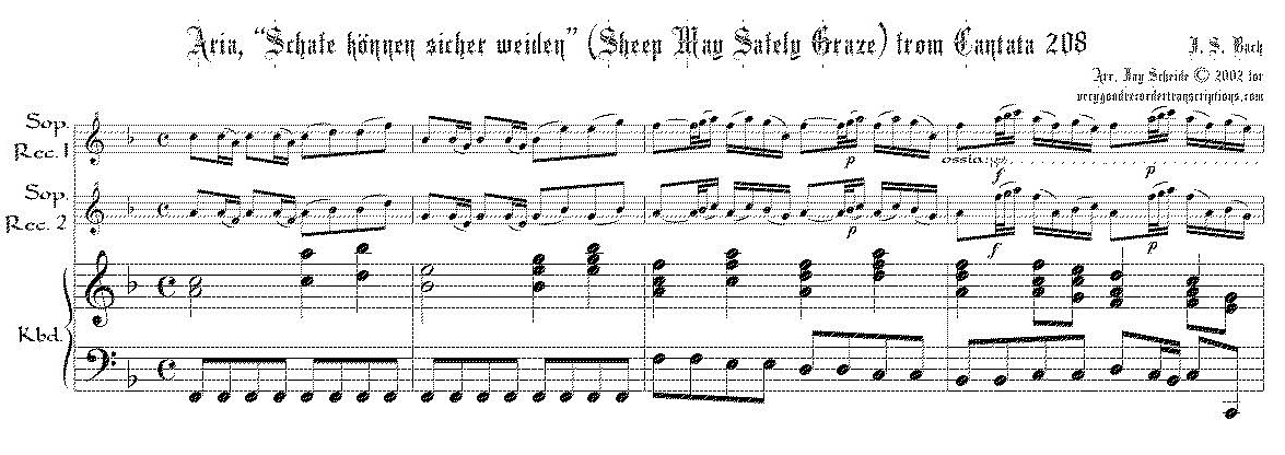"Aria, ""Schafe können sicher weiden"" (Sheep May Safely Graze) from Cantata 208, arr. for two soprano recorders & keyboard"