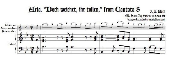 """Aria, """"Doch weichet, ihr tollen,"""" from Cantata 8"""