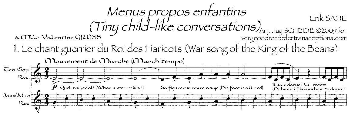 *Menus propos enfantins*, arr. for recorder duet (various recorders possible)