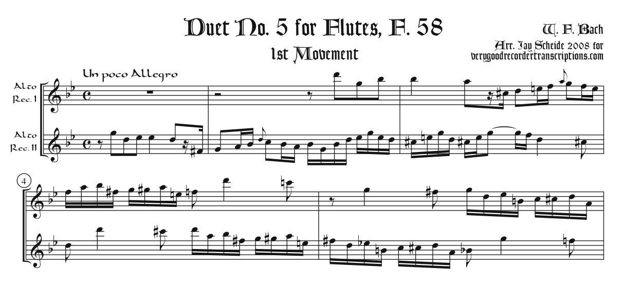 Duet No. 5 for Flutes, F. 58