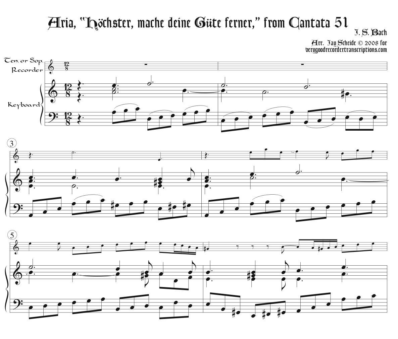 """Aria, """"Höchster, mache deine Güte ferner,"""" from Cantata 51, arr. for tenor or soprano recorder & keyboard"""