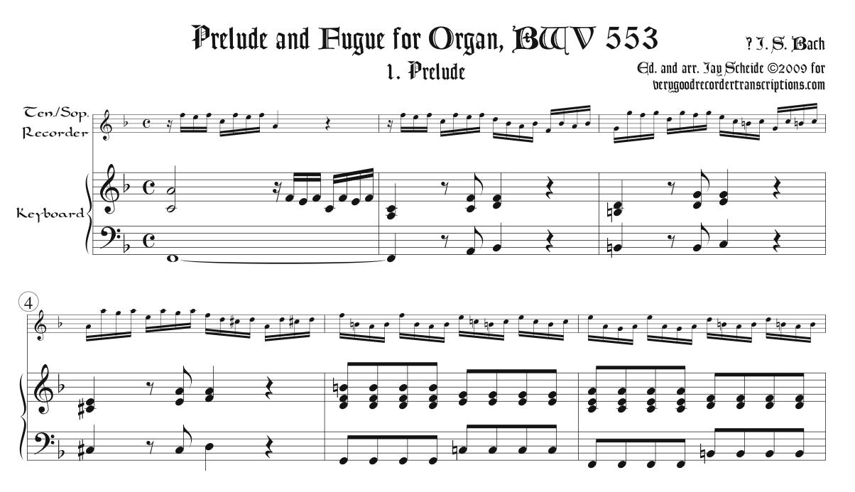 Prélude and Fugue, BWV 553, arr. for tenor or soprano recorder & keyboard