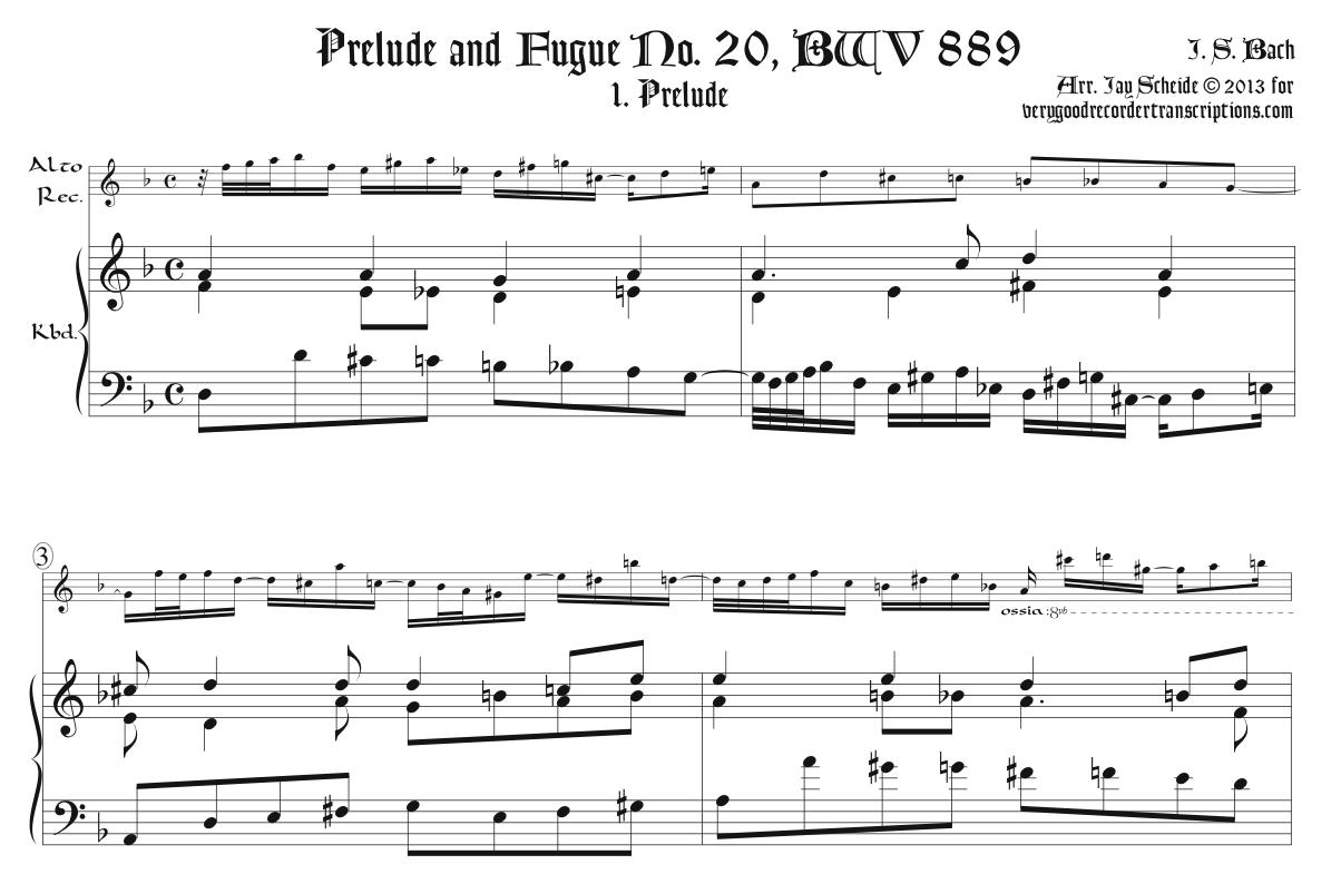 Prélude and Fugue No. 20, BWV 889