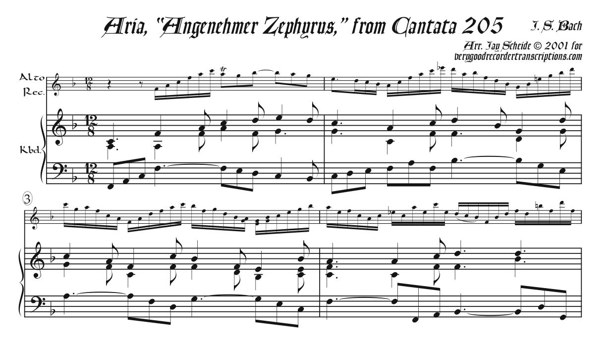 "Pallas's aria ""Angenehmer Zephyrus"" from Cantata 205 arr. for alto recorder, doubling tenor, & keyboard"