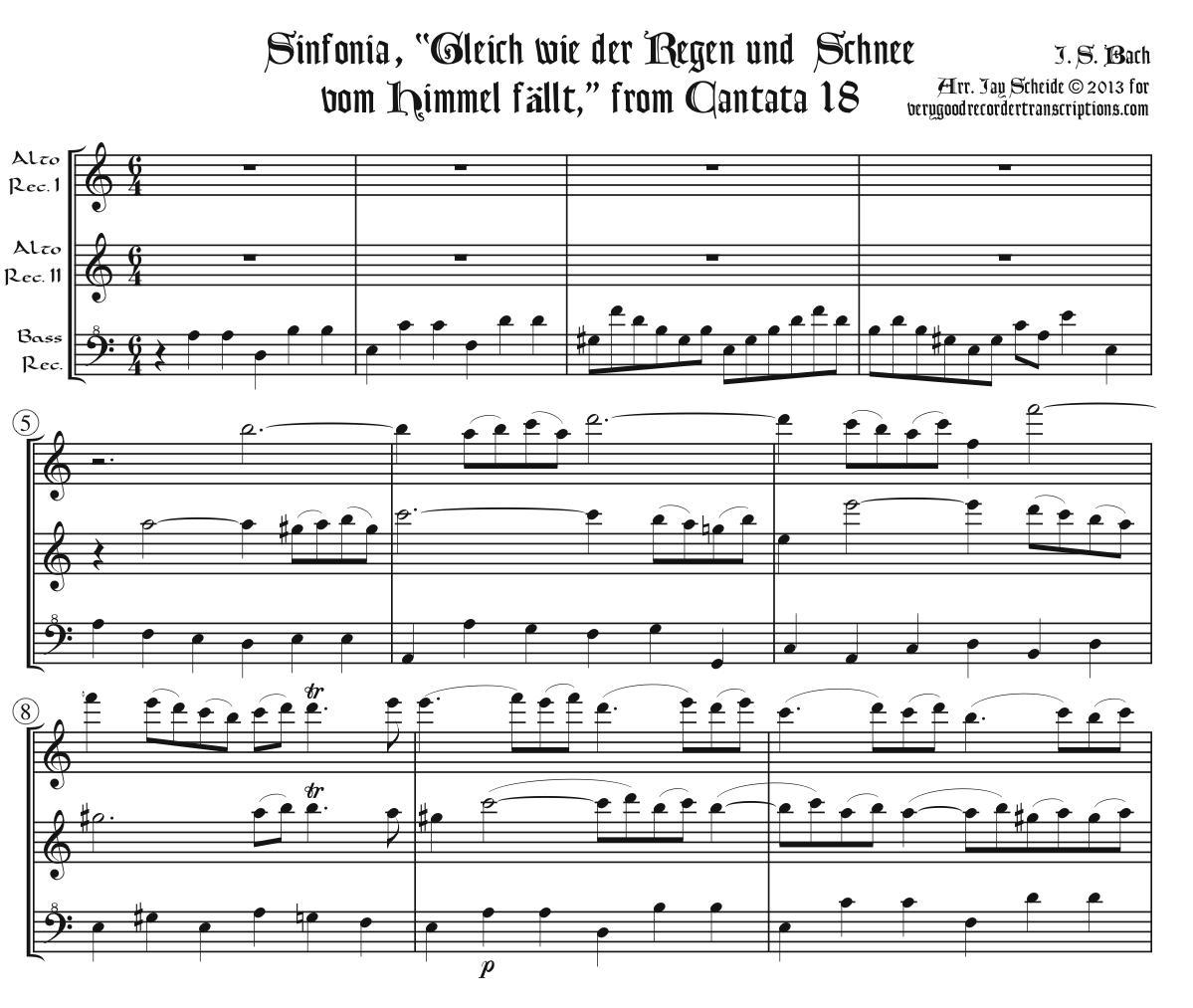 """Sinfonia, """"Gleich wie der Regen und Schnee vom Himmel fällt,"""" from Cantata 18, arr. for recorder trio"""