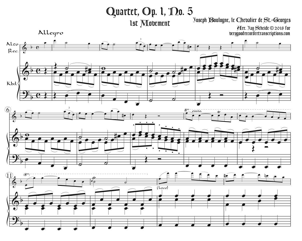 Quartet, Op. 1, No. 5