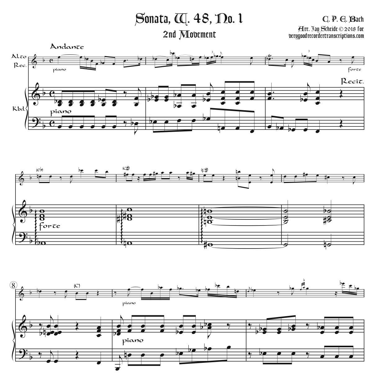 Andante from Sonata, H. 24, Wq. 48, No. 1