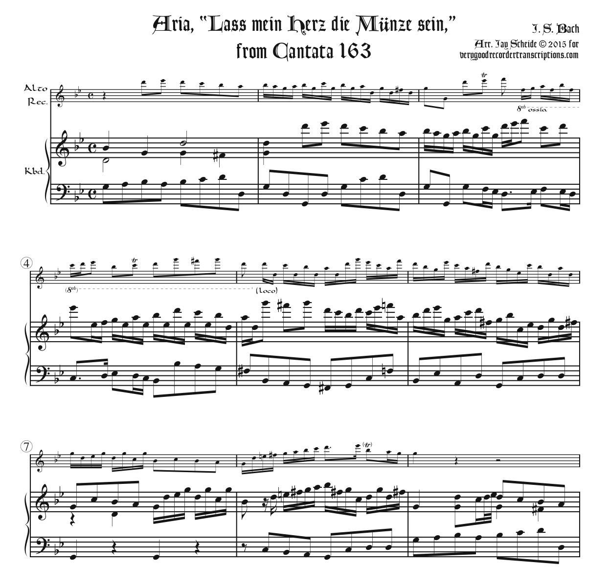 """Aria, """"Lass mein Herz die Münze sein,"""" from Cantata 163"""