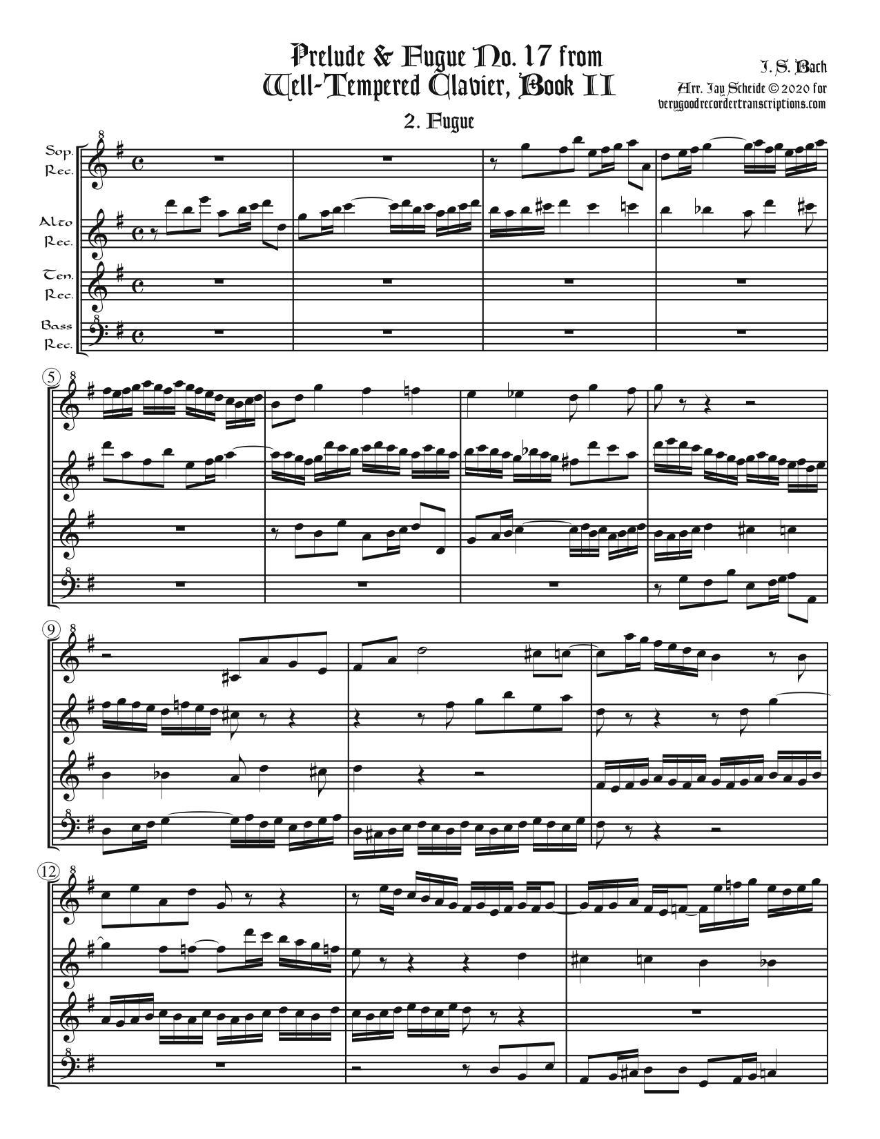 Fugue No. 17, BWV 886/2, arr. for SATB recorders
