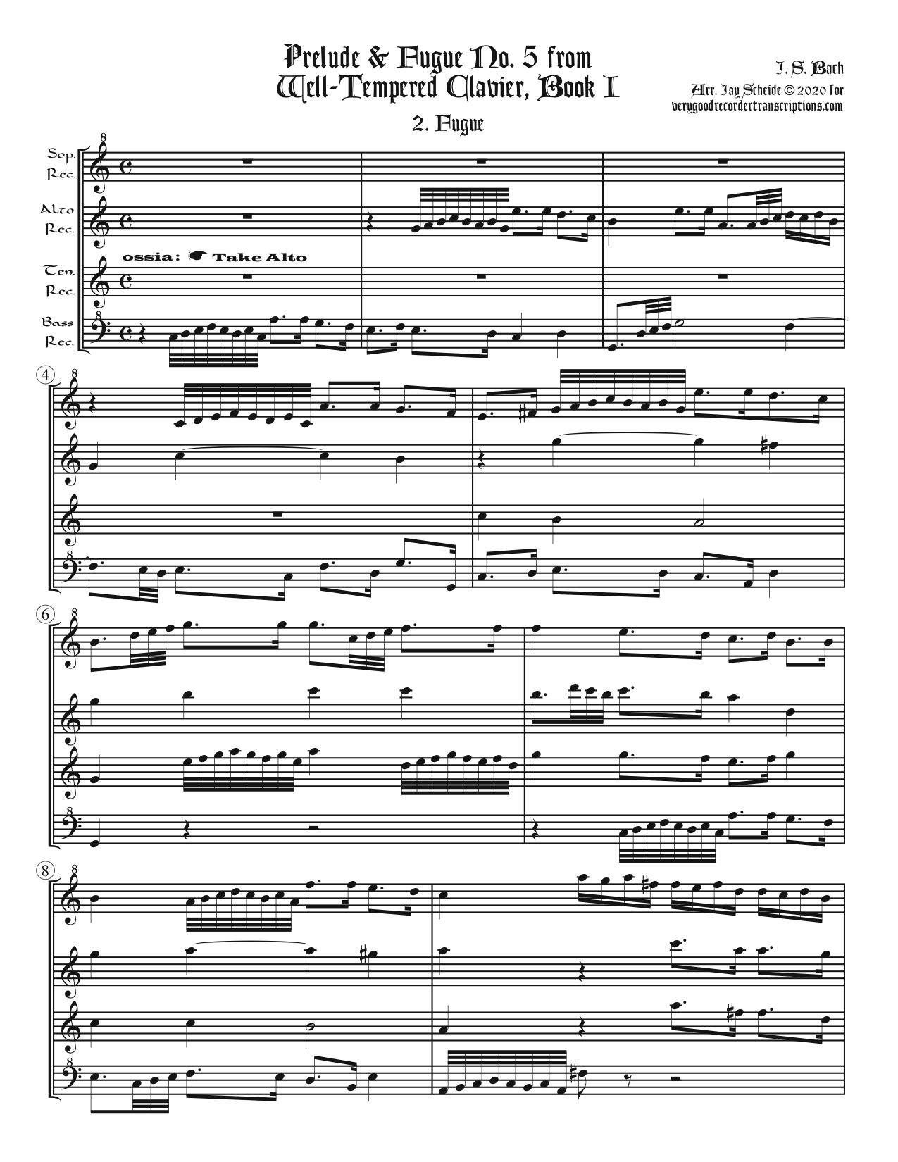 Fugue No. 5, BWV 852/2, arr. for recorder quartet, 2 versions