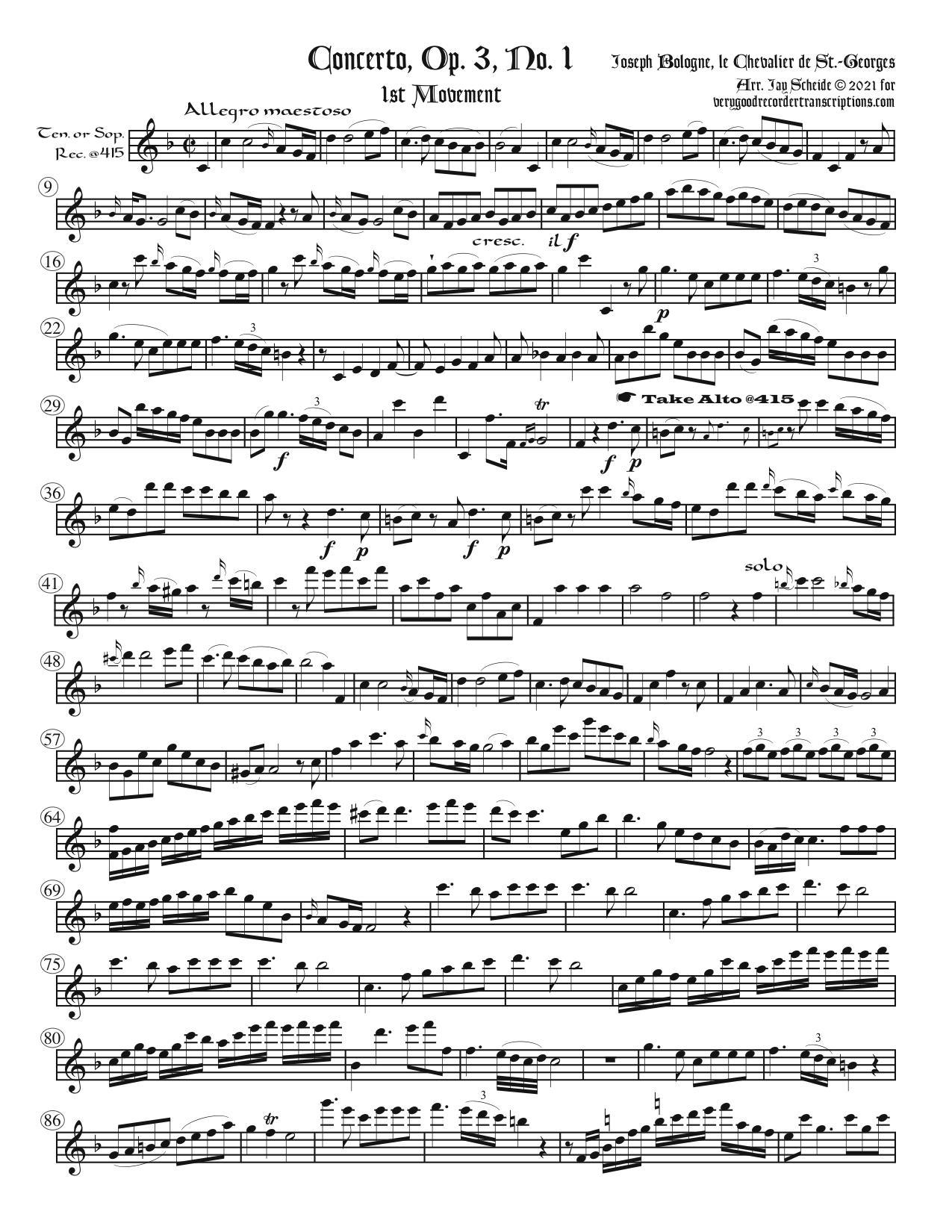Concerto, Op. 3 No. 1