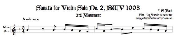 Andante & Allegro from Sonata No. 2, BWV 1003