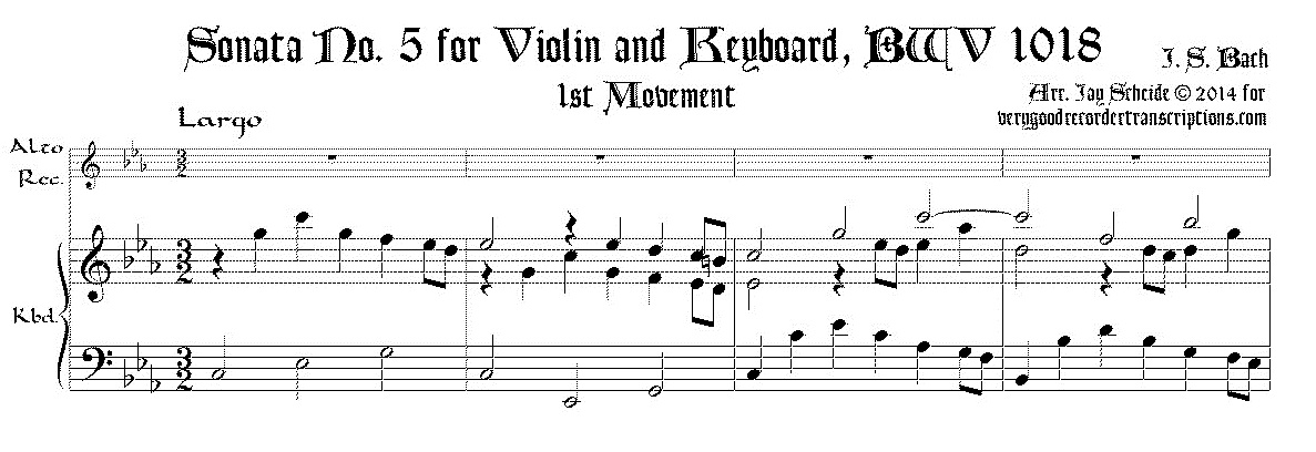 Sonata No. 5 for Violin & Keyboard, BWV 1018