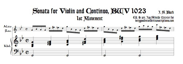 Sonata for Violin and Continuo, BWV 1023