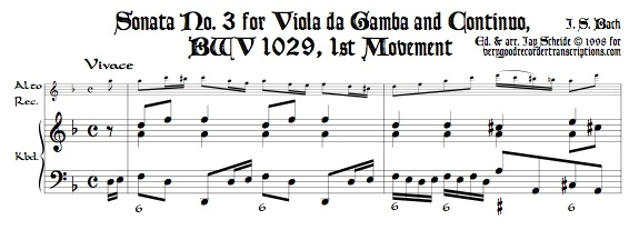Sonata No. 3 for Viola da Gamba and Continuo, BWV 1029, transposed to d
