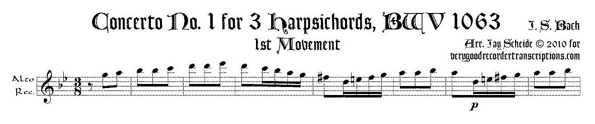 Concerto No. 1 for 3 Harpsichords, BWV 1063