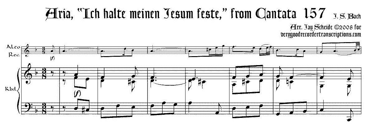 """Aria, """"Ich halte meinen Jesum feste,"""" from Cantata 157"""