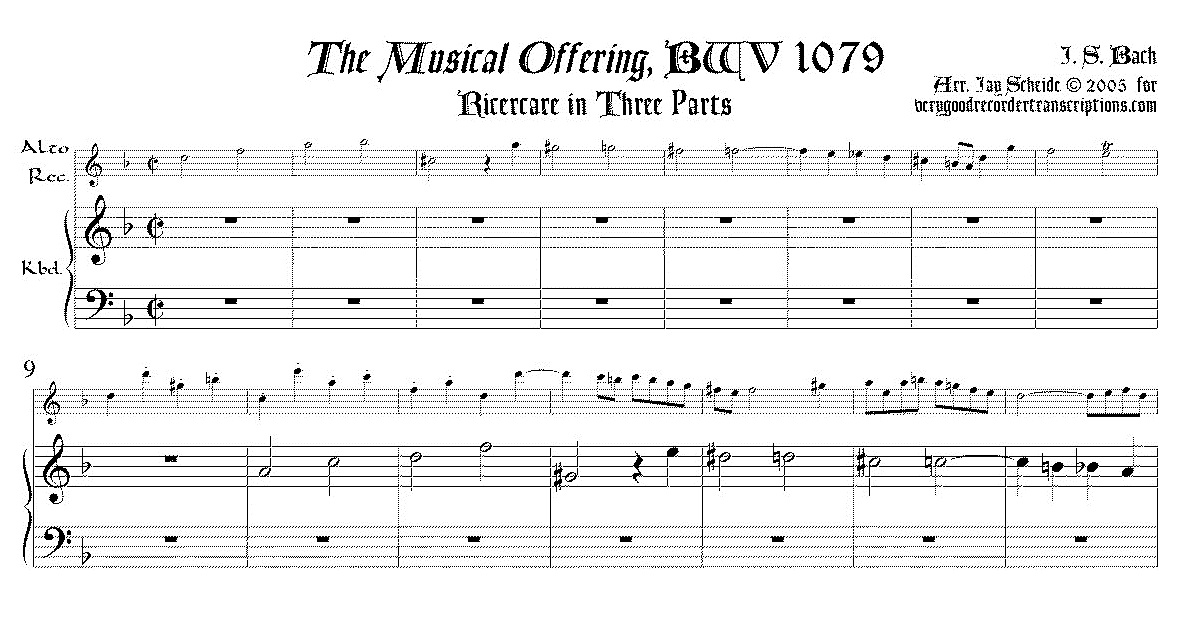 Three-part Ricercare from *Musical Offering*, BWV 1079