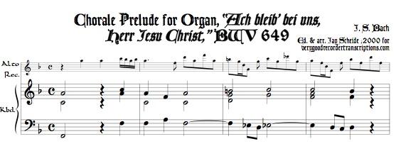 """Chorale Prelude, """"Ach bleib' bei uns, Herr Jesu Christ"""", BWV 649"""