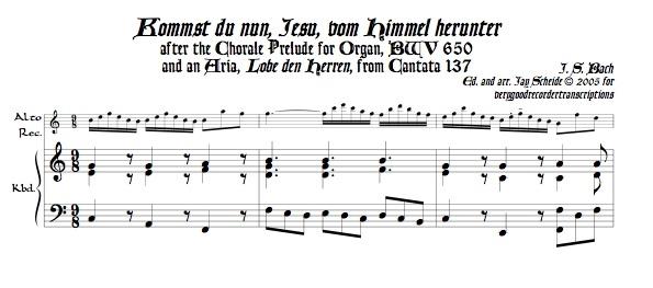 """Chorale Prélude, """"Kommst du nun, Jesu, vom Himmel herunter,"""" BWV 650"""