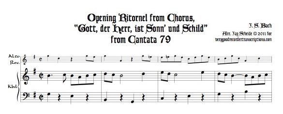 """Opening Ritornel from Chorus, """"Gott, der Herr, ist Sonn' und Schild"""" from Cantata 79"""