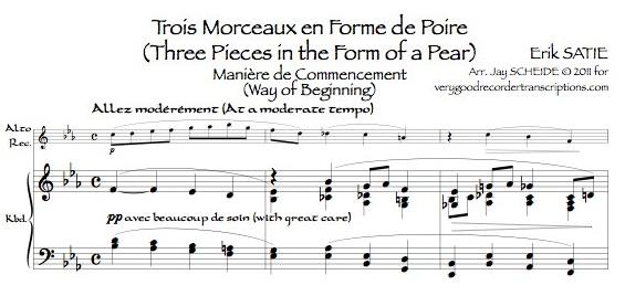 """*Trois Morceaux en forme de poire*: """"Manière de commencement"""" (AKA Gnossienne No. 7), 2 versions"""
