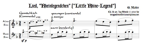 """Rheinlegendchen"" from *Des Knaben Wunderhorn*, for alto—doubling C instrument—and bass recorders"