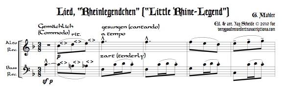 """""""Rheinlegendchen"""" from *Des Knaben Wunderhorn*, for alto—doubling C instrument—and bass recorders"""