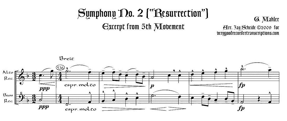 Excerpt from Symphony No. 2, 5th Mvmt., arr. for alto & bass recorders