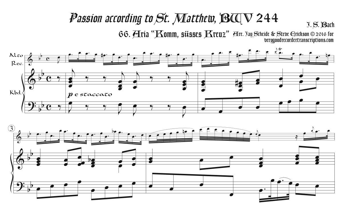 "Aria, ""Komm, süsses Kreuz"", from *St. Matthew Passion*, BWV 244"