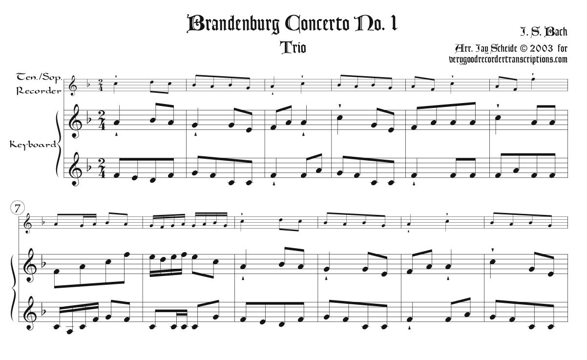 Trio from Brandenburg Concerto No. 1, BWV 1046, arr. for tenor or soprano recorder & keyboard