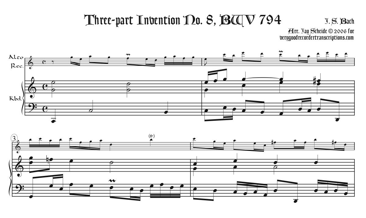 3-part Invention No. 8, BWV 794