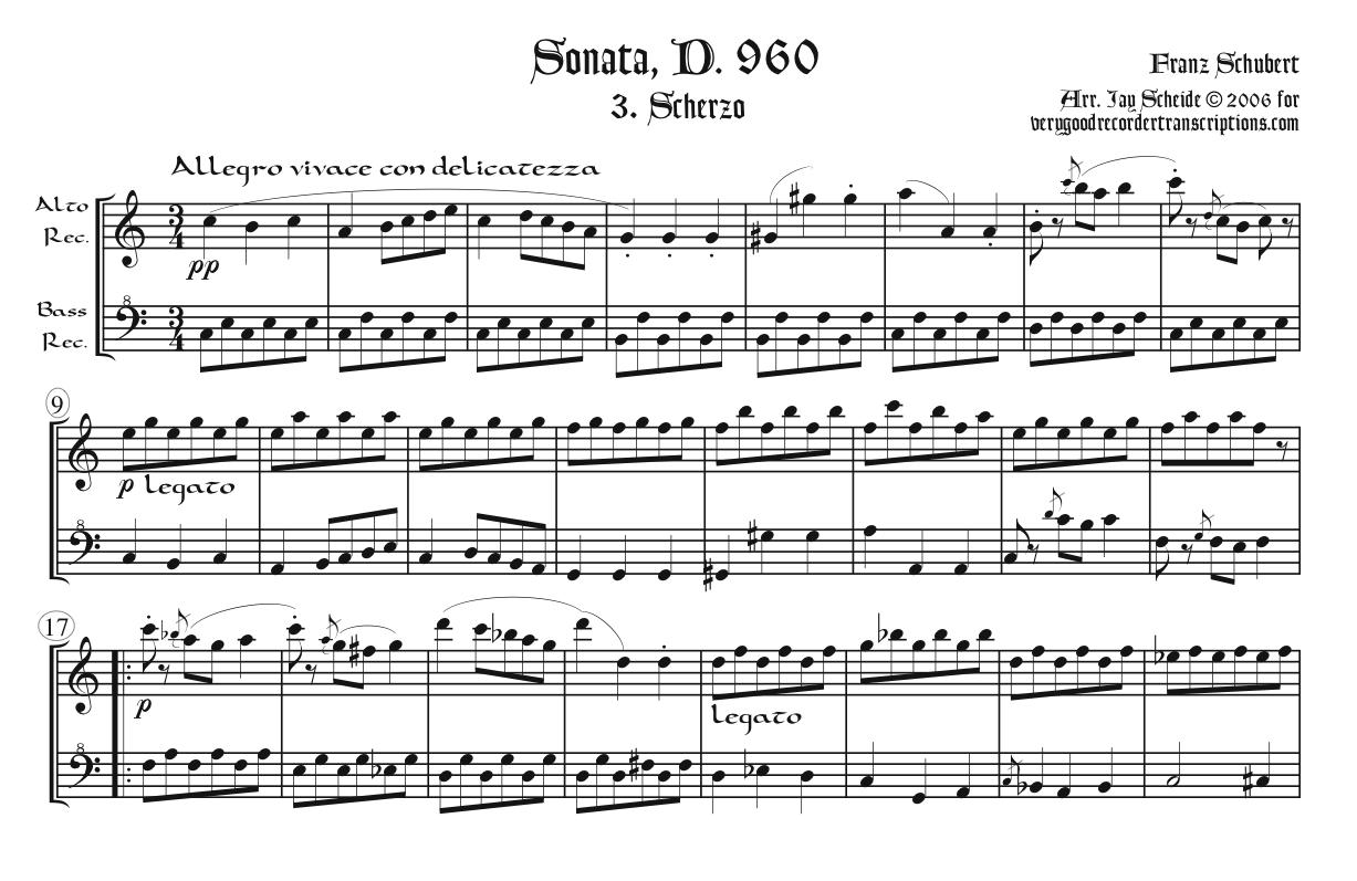 Scherzo from Piano Sonata, D. 960, arr. for alto & bass recorders